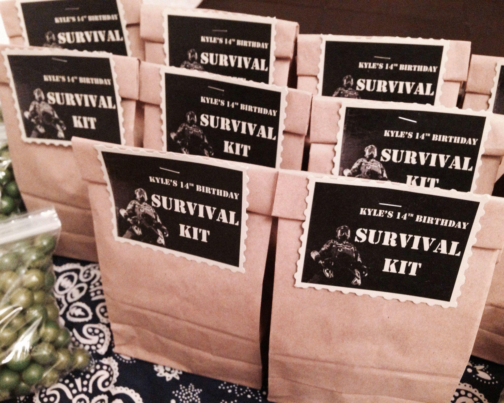 Kyles 14th bday paintball party goody bag AKA survival kit Treat