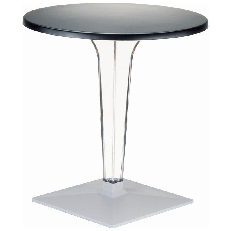 Ice Werzalit Top Round Dining Table With Transparent Base 32 Inch