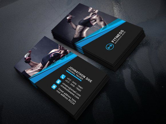 Fitness Business Card By Vazon On Creativemarket