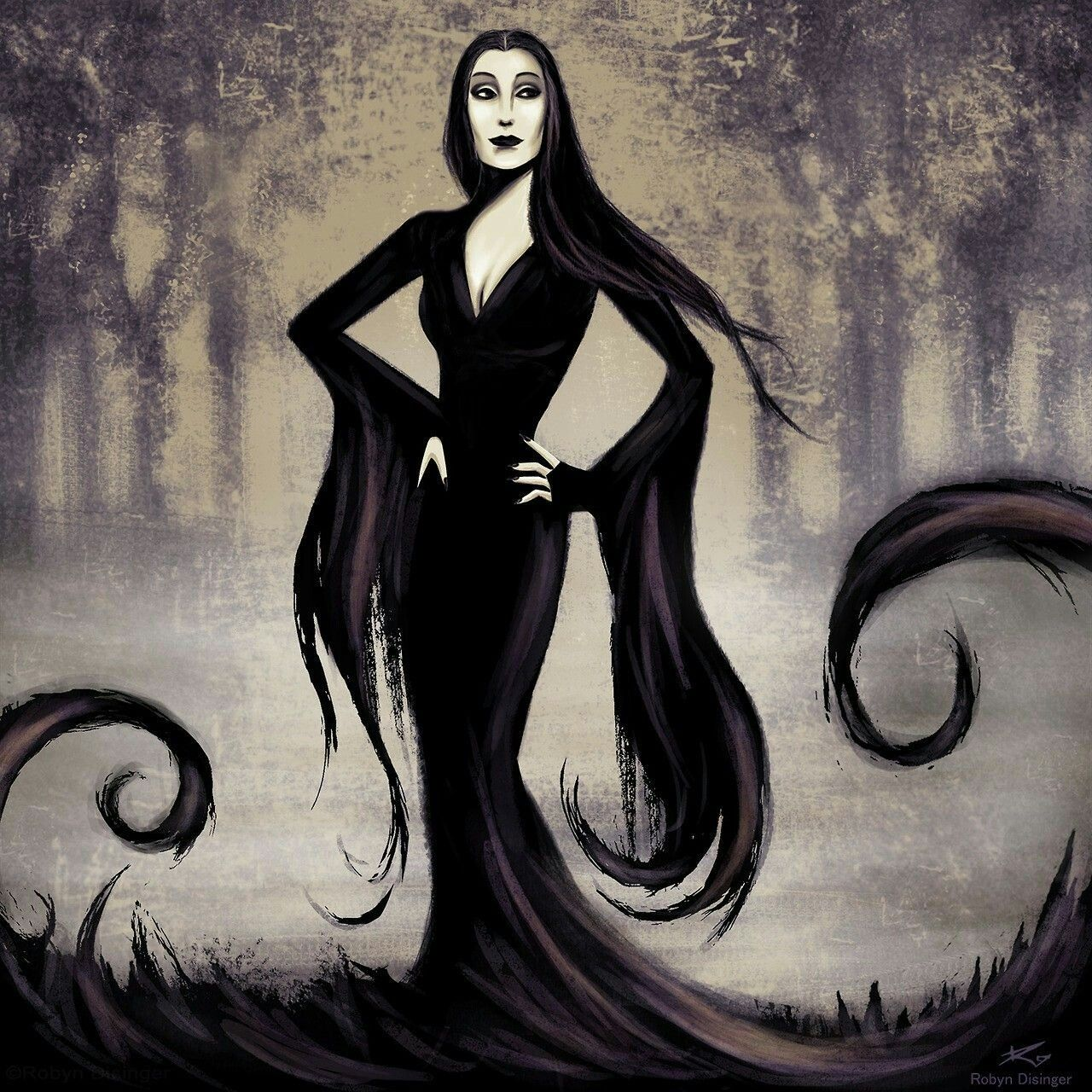 Morticia Addams family, Morticia addams, Family art