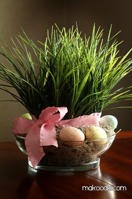 What To Put In A Bowl For Decoration Easter Grass Diy Spring Decorplant Grass In Small Bowl Put In