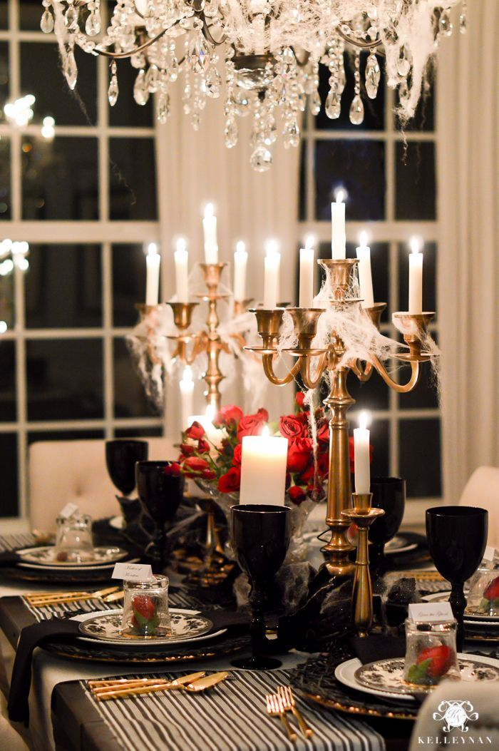 Halloween table ideas with red roses and black goblets ... on christmas home designs, thanksgiving home designs, theater designs, modern family home designs, house home designs, star wars home designs,