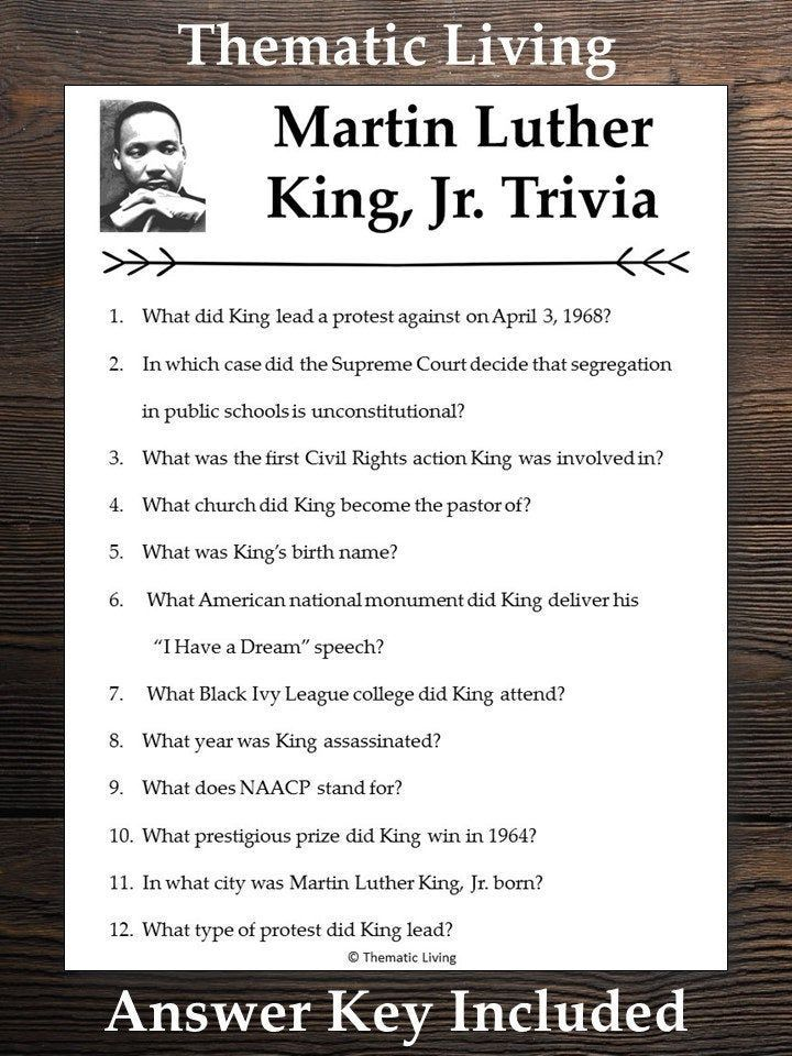 Martin Luther King, Jr. Trivia 2020 | January Holiday ...