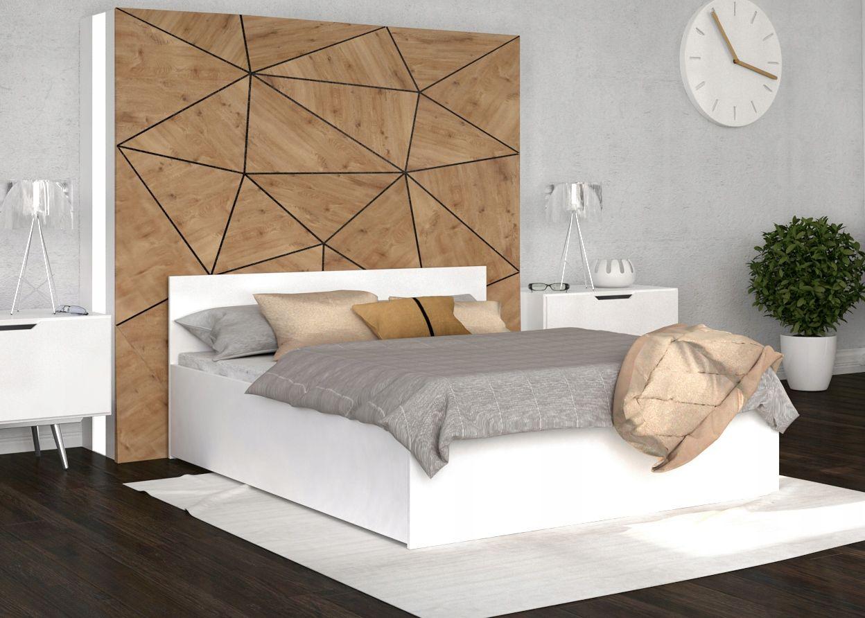 łóżko Podnoszone Biel Panama 140x200 Stelaż Sypialnia