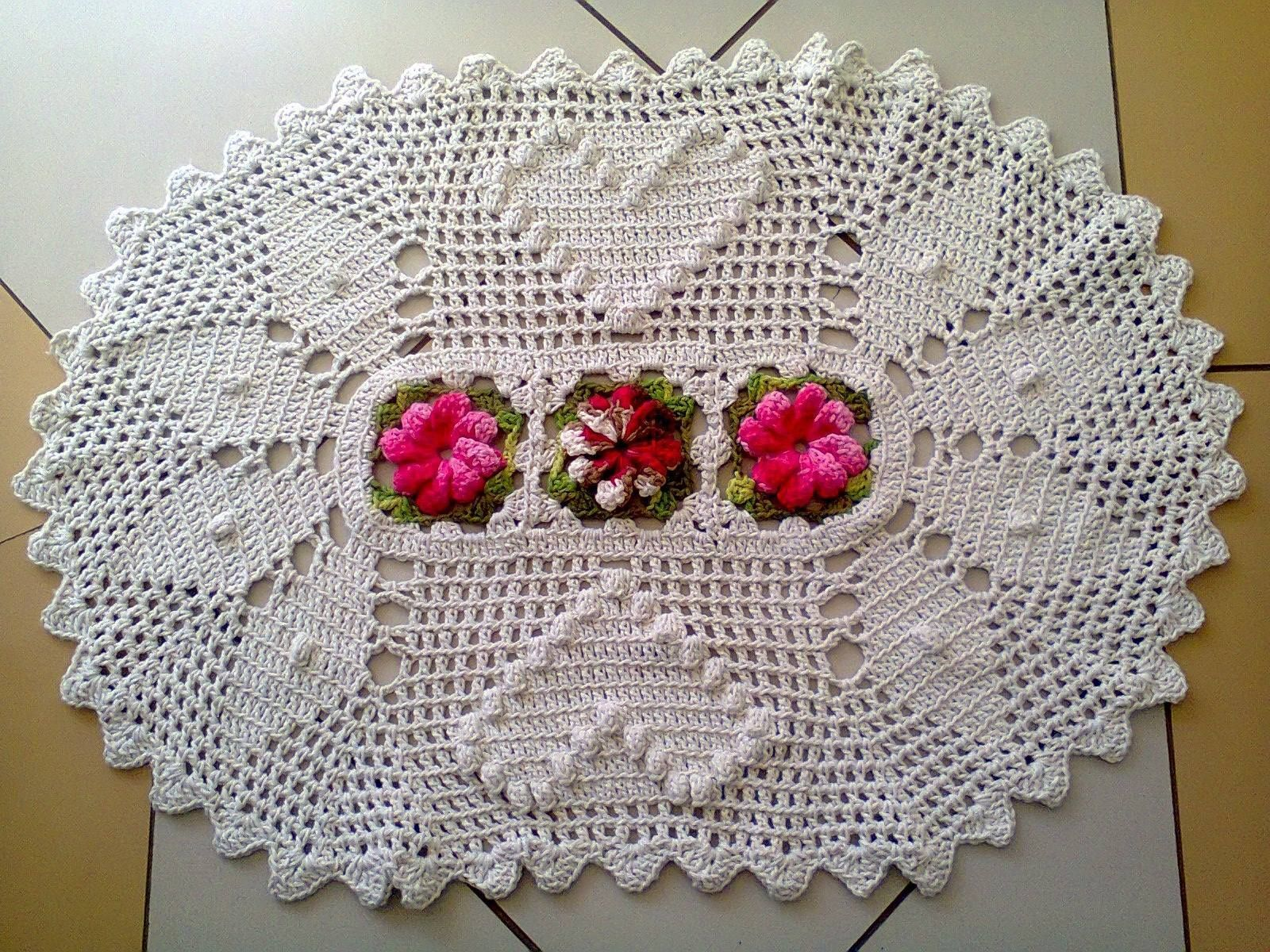 75 Modelos De Tapetes De Barbante Para Inspirar Crochet -> Tapetes Desenhos
