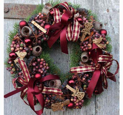 dekoracja świąteczna / wianek na drzwi Święta w Bordo wreaths