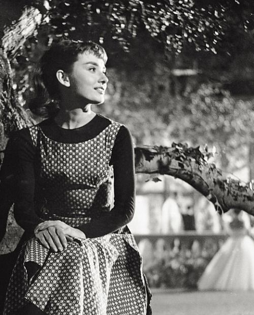 Audrey Hepburn photographed during the filming of Sabrina, 1954