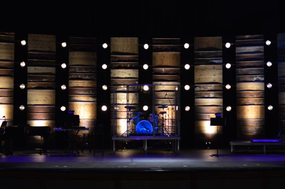 Wooden stage design idea | Church stage design, Church stage ...