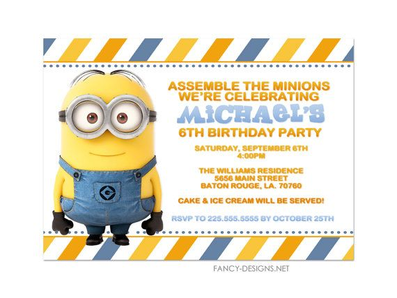 Minion Birthday Party Invitations by fancybelle on Etsy, $1000 - fresh birthday invitation from a kid