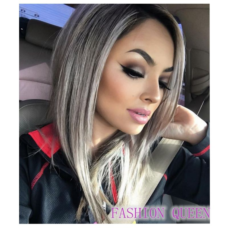 Promotion Ombre Gray Bob Wig Black Silver Lace Front Short Grey