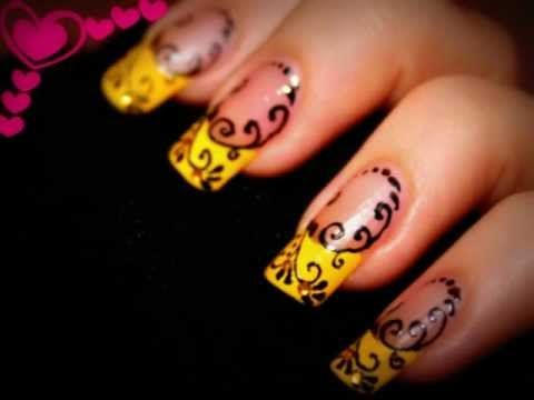 Nail Design- Yellow French with Black swirls. Nail art pen. - YouTube - Nail Design- Yellow French With Black Swirls. Nail Art Pen