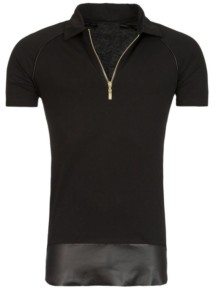 Stylish polo shirt with golden zipper and faux leather bottom. PLEASE USE  THE SIZE CHART TO PICK THE CORRECT SIZE FOR YOU. 100% Cotton 565f8042a0