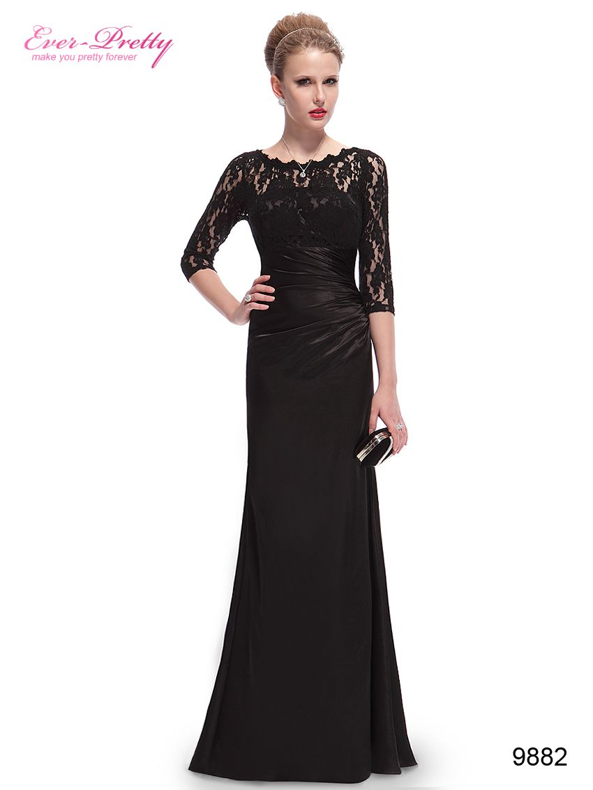 Lace long sleeve formal evening dress elegant black for Evening wedding guest dress