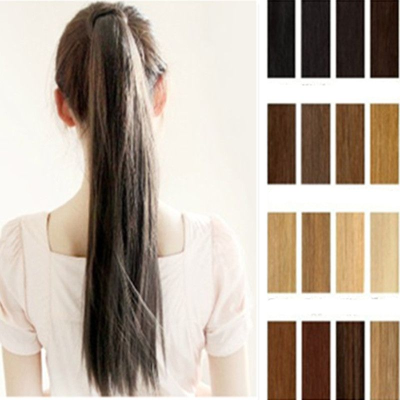 Details about Deluxe Tie up clip in pony tail ponytail