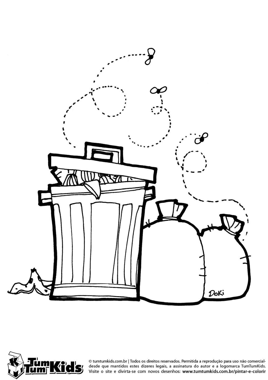 Lixo Lixeira E Moscas Desenho De Lixo Desenhos