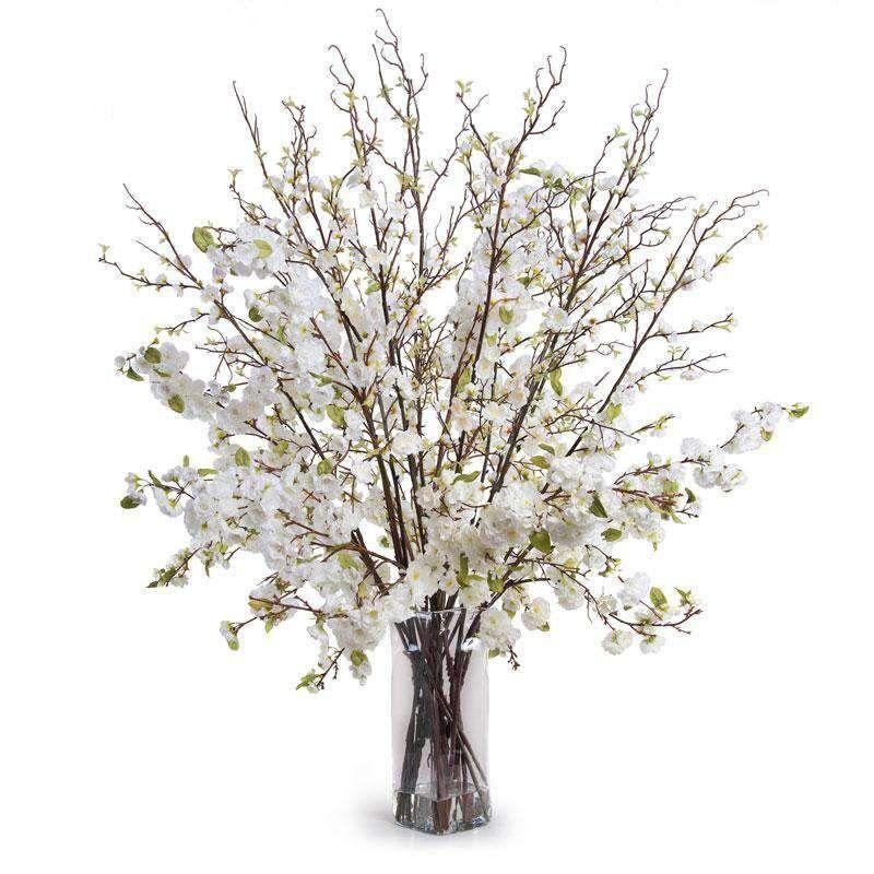 Cherry Blossom Arrangement Whitedefault Title In 2021 Rustic Arrangements Faux Flower Arrangements White Cherry Blossom
