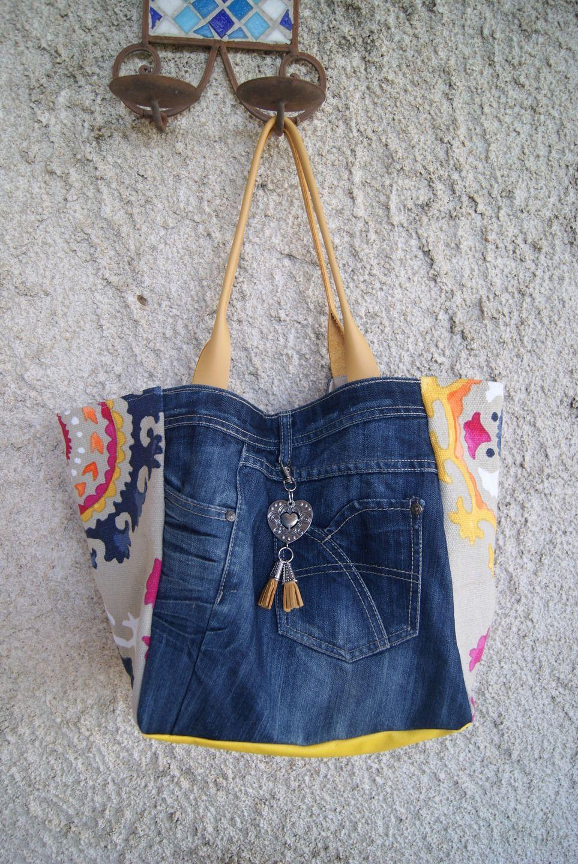Sacs En Jean dedans sac cabas en jean et tissu mandala fond beige ...