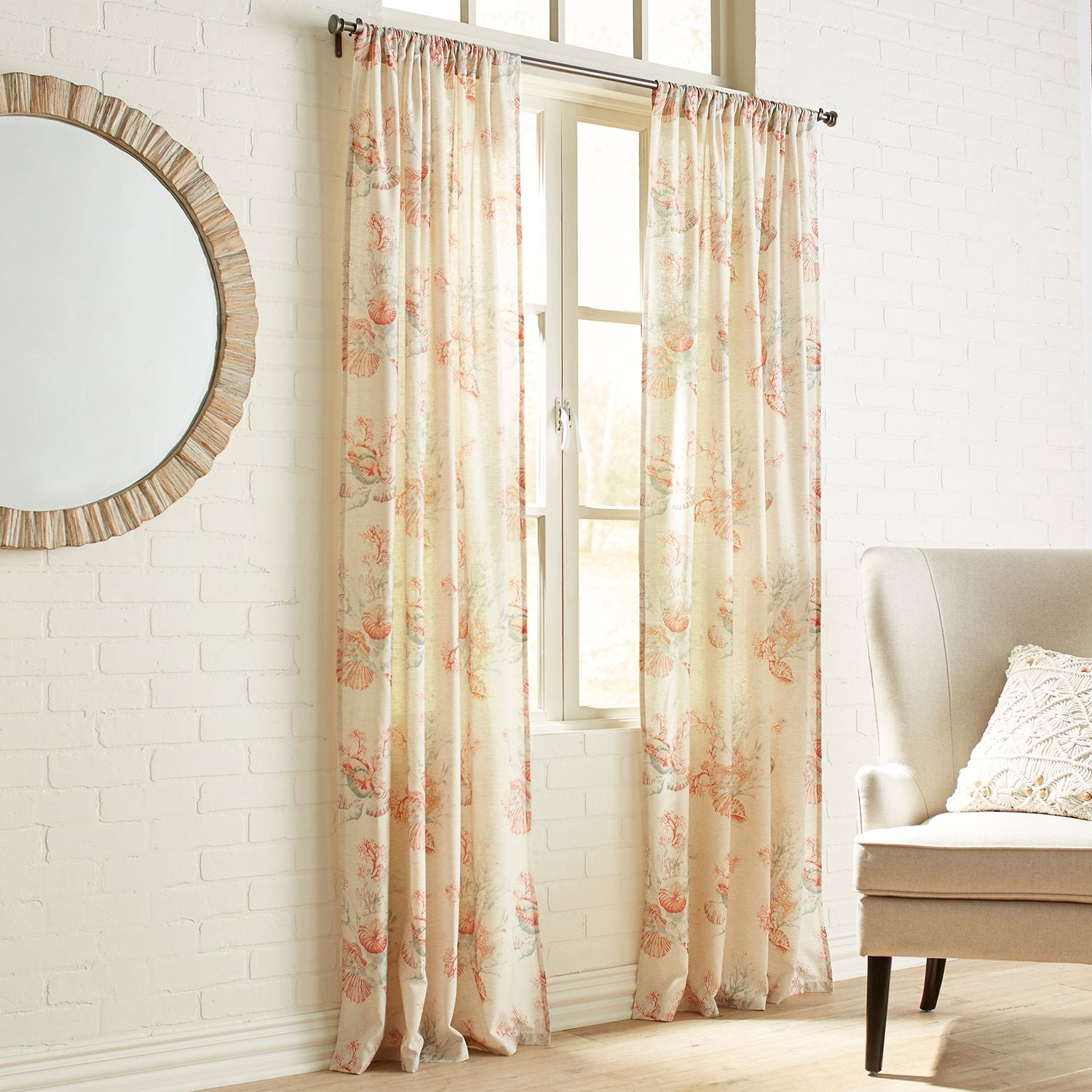 Coral Patterned Curtains Simple Decorating