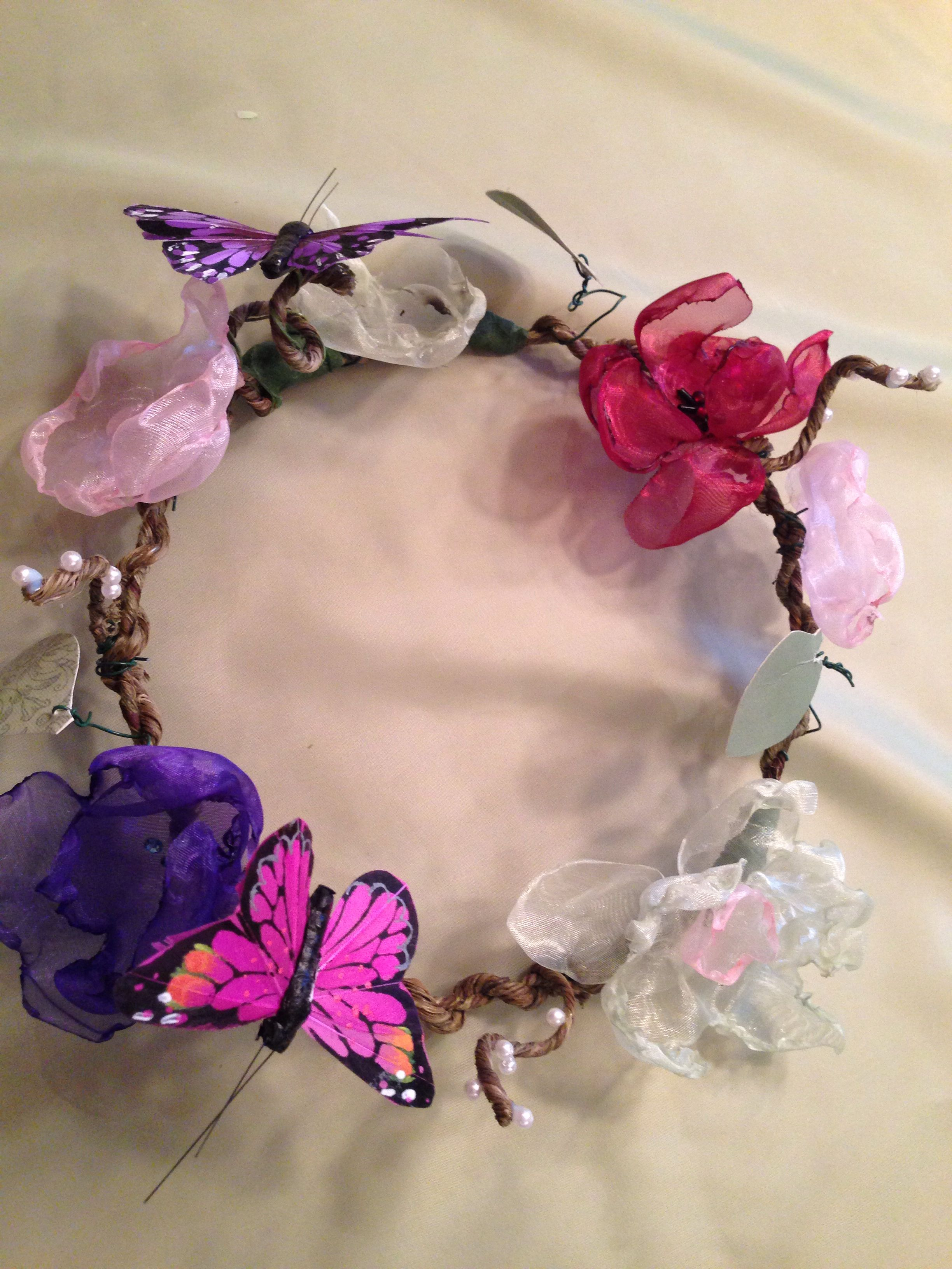 Cute Flower Crown I Made It With Fabric Flowers Floral Wrap Wire