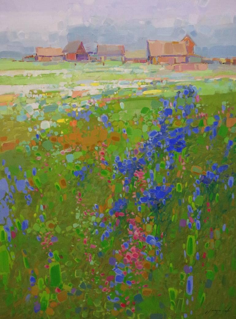 Summer Field Landscape Contemporary Art One Of A Kind Painting Abstract Art Painting Abstract Contemporary Abstract Art