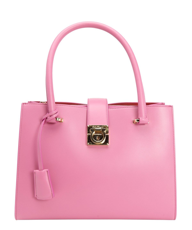 SALVATORE FERRAGAMO Anemone Calfskin Small 'Juliette' Lock Tote'. #salvatoreferragamo #bags #shoulder bags #hand bags #leather #tote #lining #