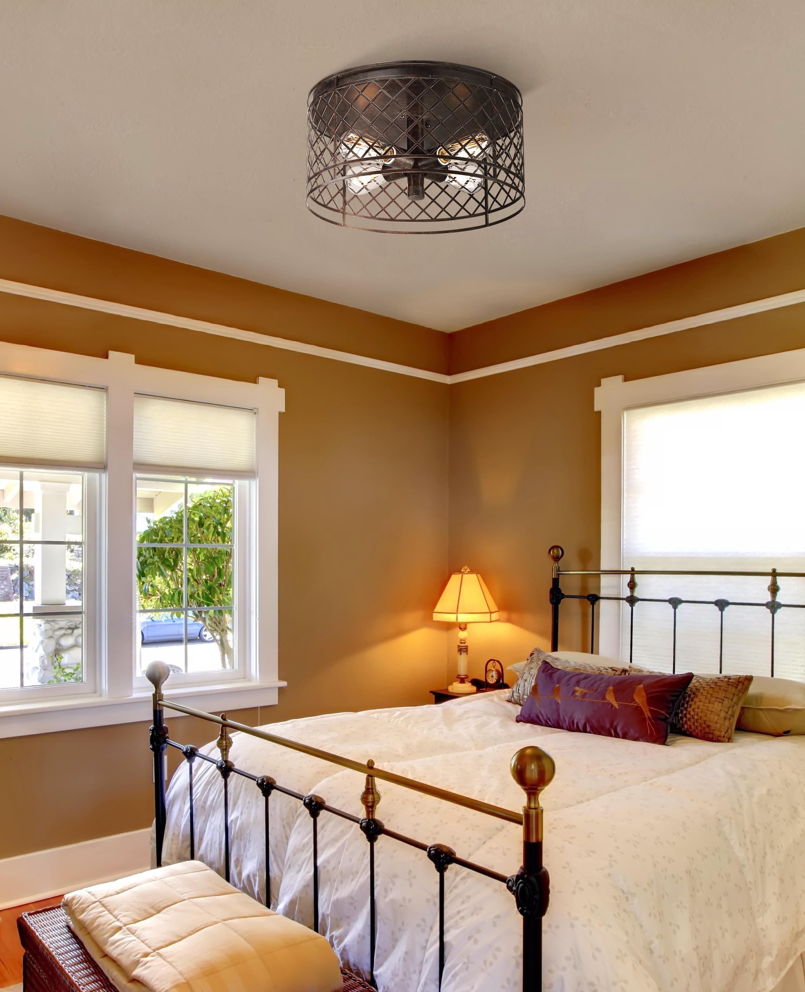 "Lattice Vintage Style 16"" Wide Bronze Ceiling Light"