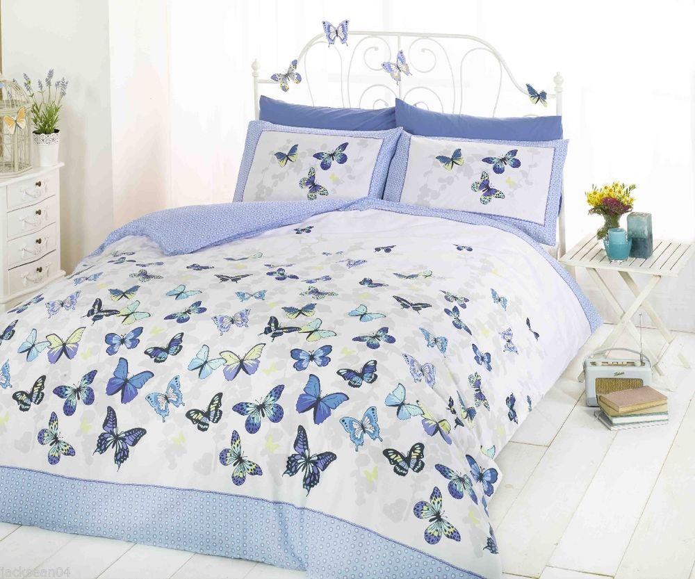 Superb Trendy Funky Cotton Butterfly Blue Double Duvet Set Quilt