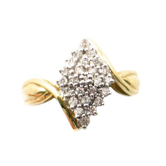 76926d13b69ae Vintage Diamond Waterfall Ring in 10K Gold • 24 Diamonds Totaling ...