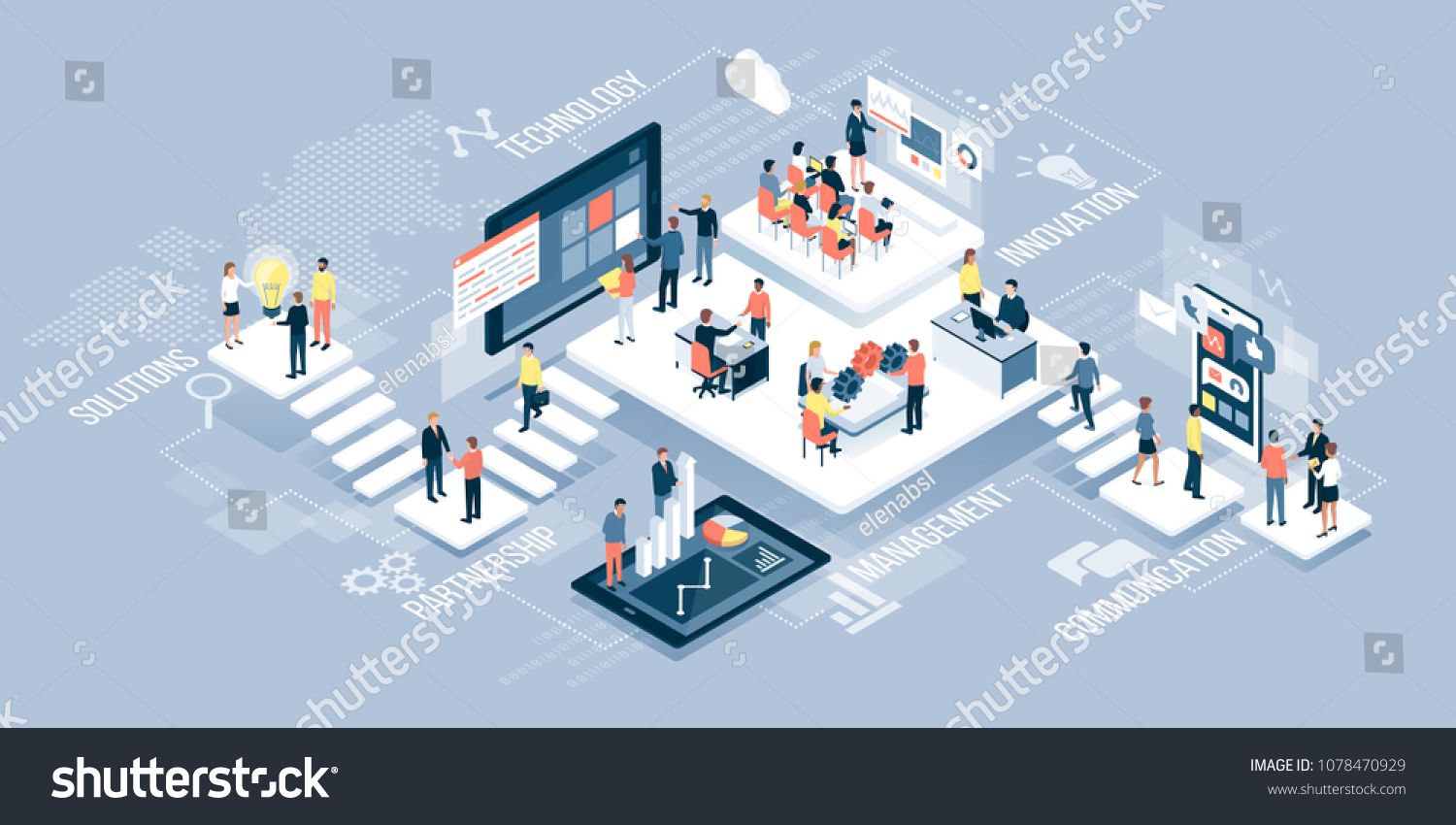 Isometric virtual office with business people working