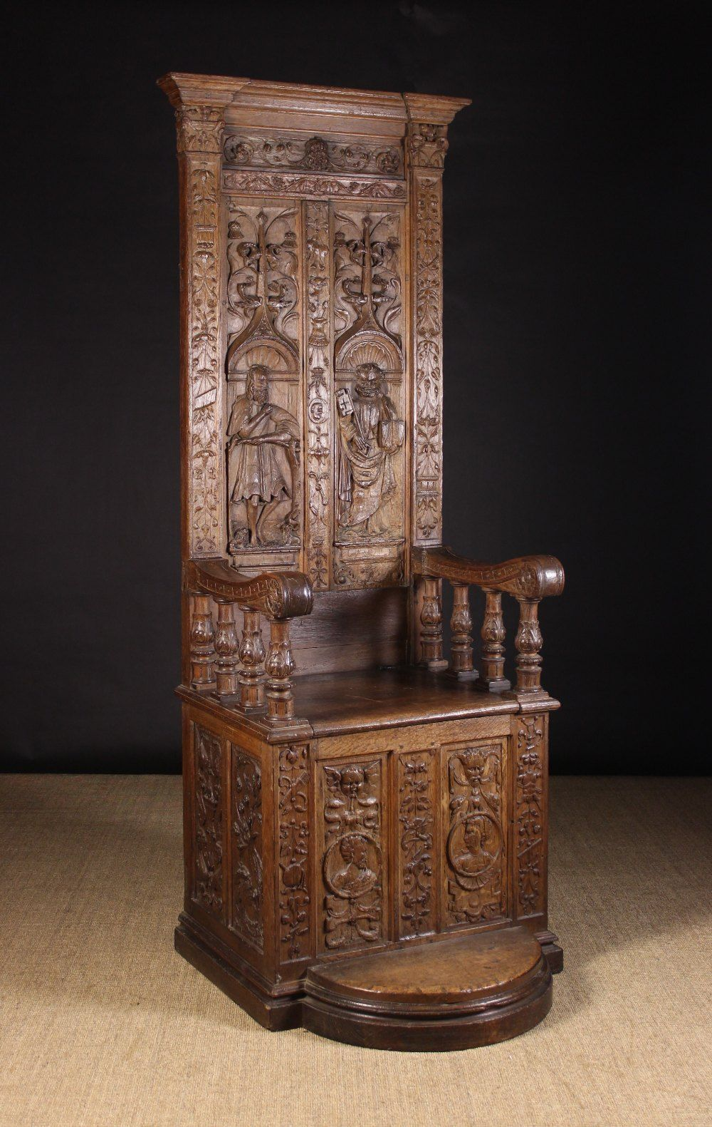 A Carved 16th Century Renaissance Throne Chair The Tall Twin Carved Furniture Throne Chair Fancy Chair
