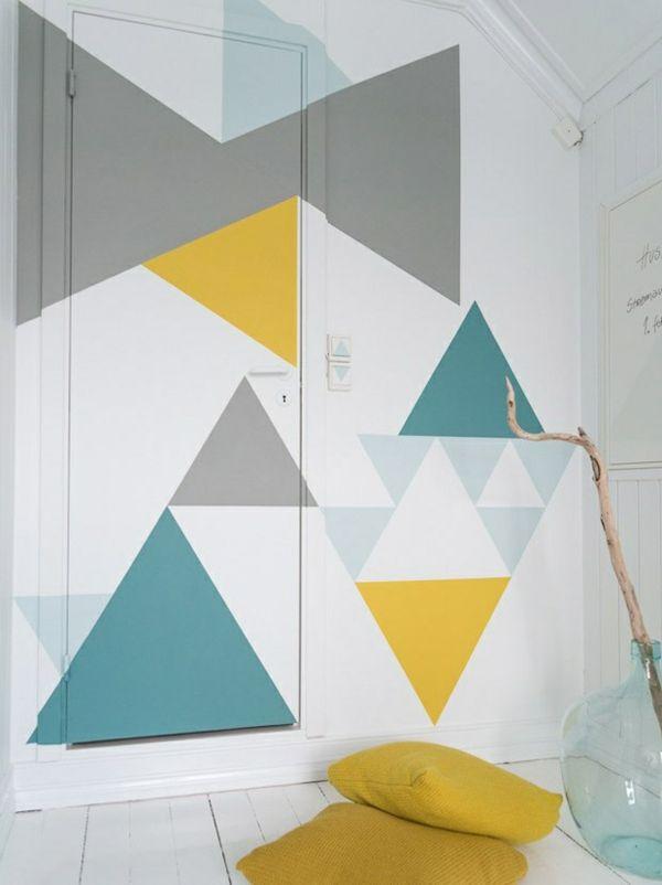 diy wand streichen ideen geometrische gestaltung dekokissen - wohnzimmer orange streichen