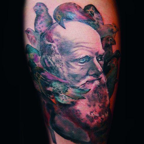 Amazing charles darwin tattoo by jason angst tattoo for Evolution tattoo studio