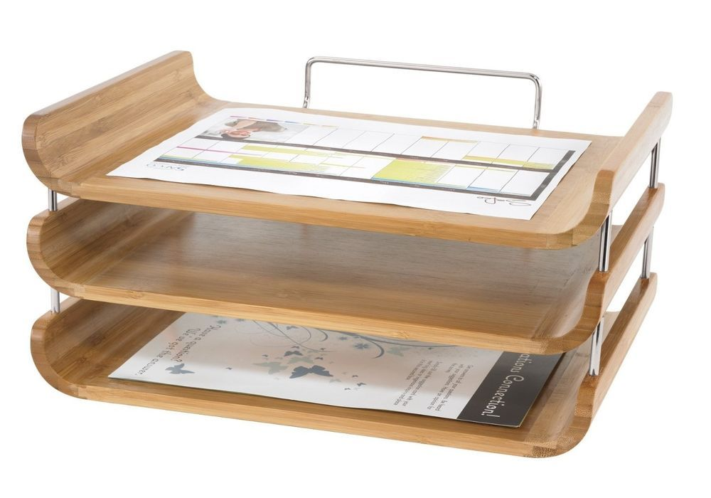 Bamboo Wood Desktop Organizer Tray Natural Finish Office File Desk Letter Holder With Images Desktop Organization Desk Tray Desk Accessories