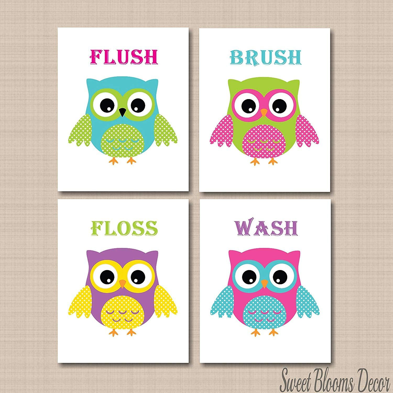 Kids Owl Bathroom Decor  Owl wall art, Kids bathroom wall art