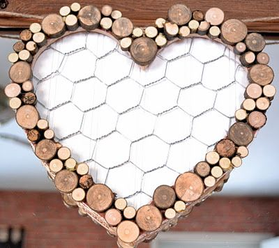 wood slice heart
