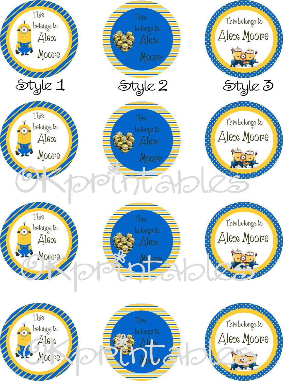 Minions Personalized name tag stickers - Back to school name labels ...