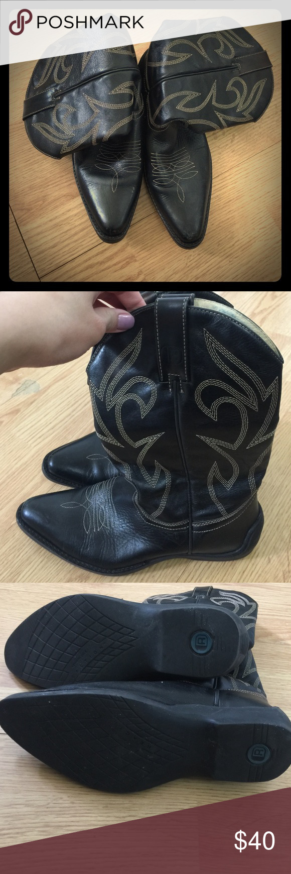 ✨✨ Cowgirl boots by Kenneth Cole Reaction✨ These babies are in great condition. Only flaw is the blue stain from tucking jeans into the boots (as shown in fourth pic). Shoes Ankle Boots & Booties