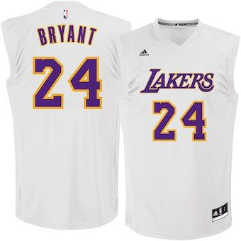 8d12f475f3b Kobe Bryant Los Angeles Lakers adidas Chase Fashion Replica Jersey - White
