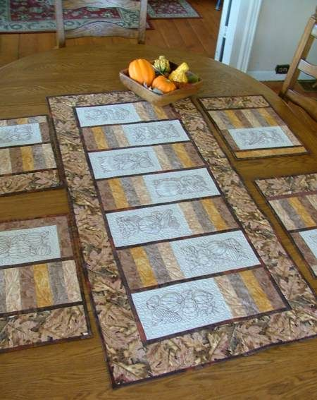 Advanced Embroidery Designs. Free Projects and Ideas. Autumn-themed quilted place mats with embroidery.