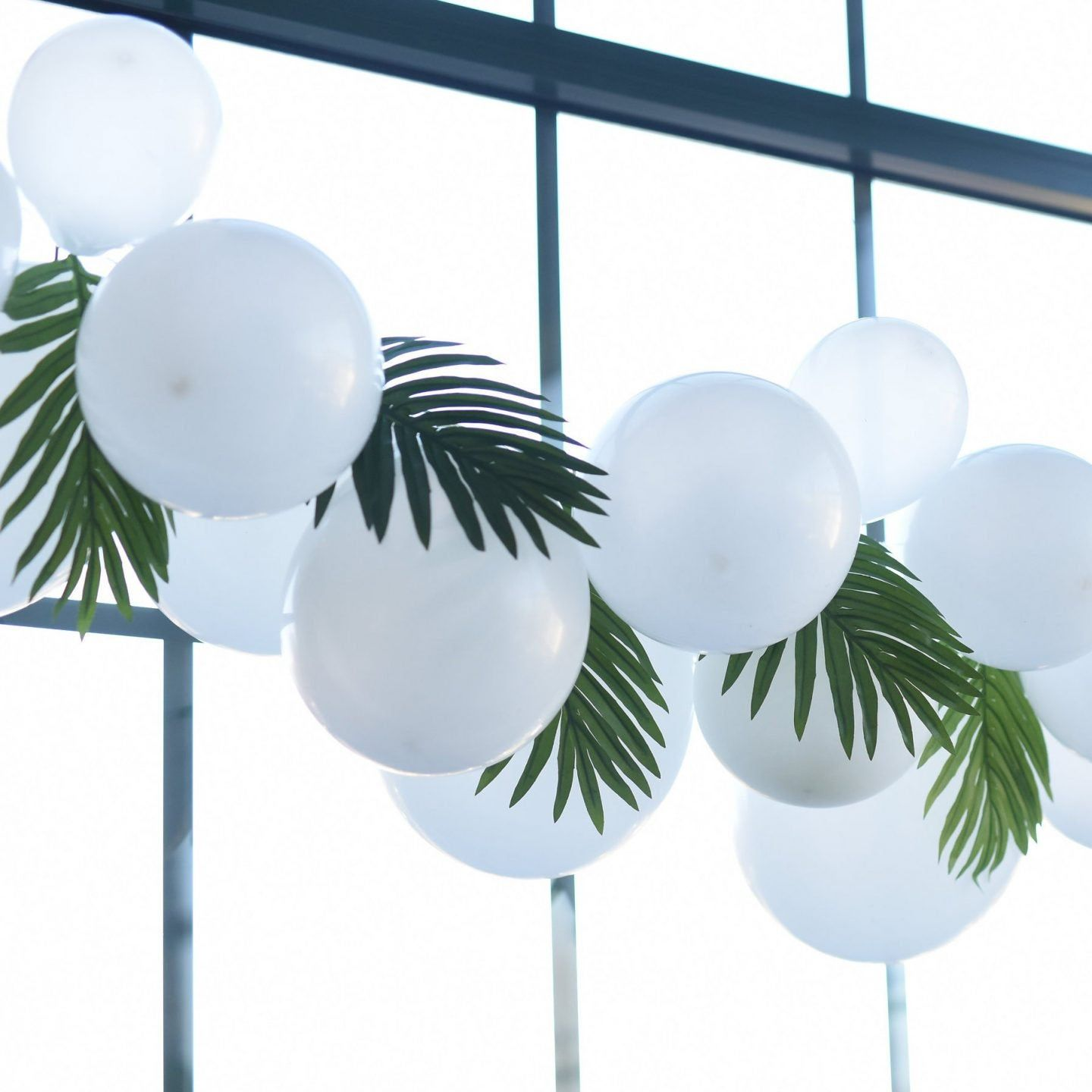 White Palm Balloon Garland Pump Included Create Your Own Etsy In 2021 Tropical Decor Balloon Garland Tropical Home Decor