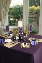 White And Purple Table Setting Purple Table Purple Table Settings Table Settings