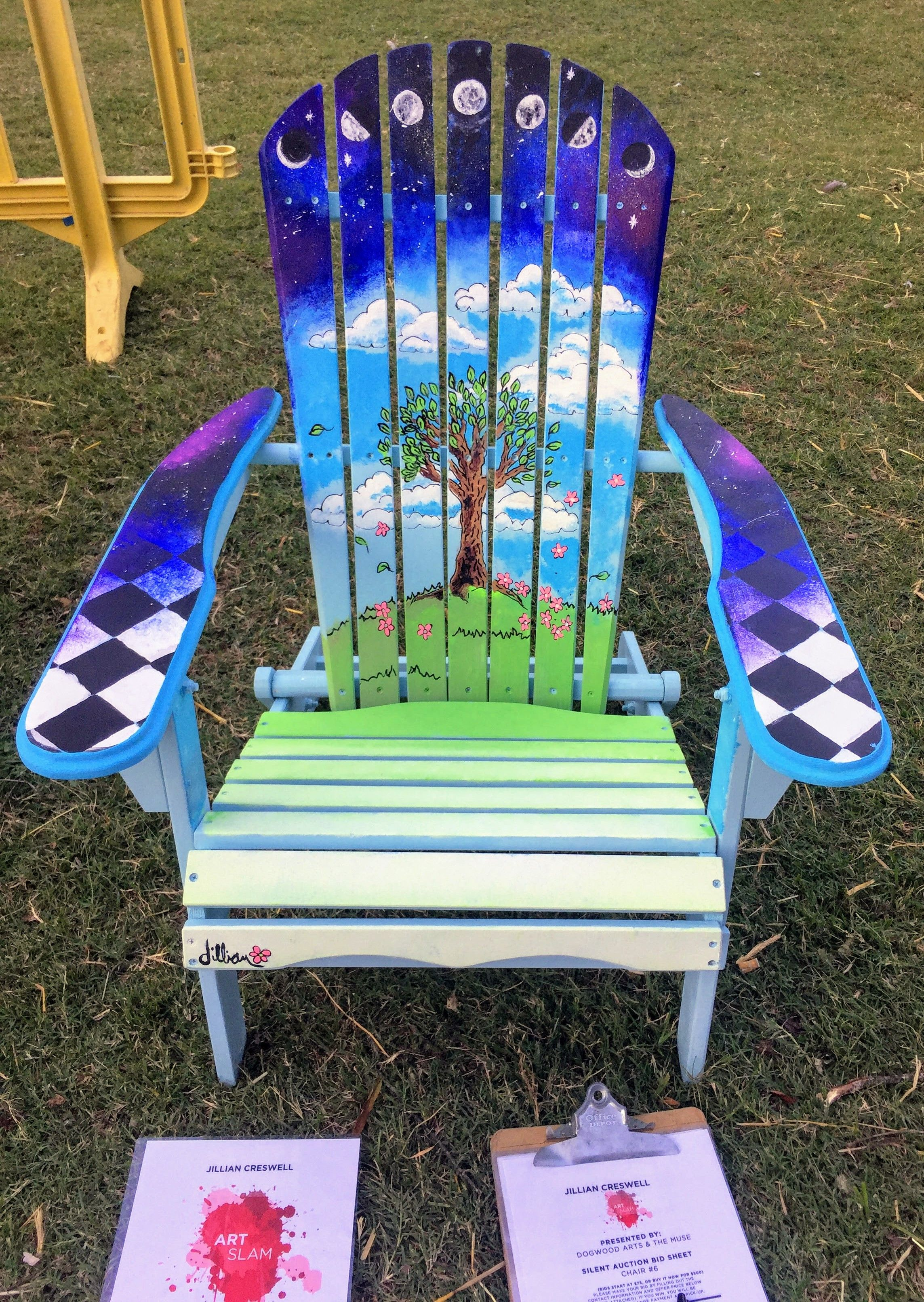 adirondack chair painting moon phases galaxy live art