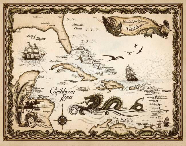 Caribbean Nautical Chart by Savanna Redman
