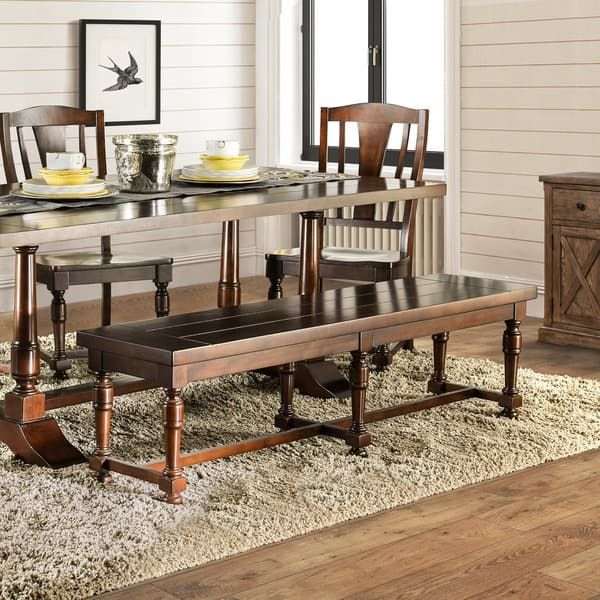 Superbe Furniture Of America Lumin Rustic Country Style Plank Top Brown Cherry  Dining Bench