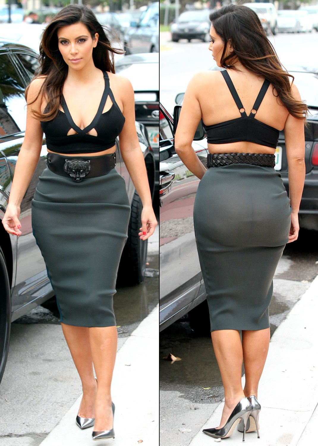 35595c1d1c Kim Kardashian Wears Tight See-Through Skirt, Bra Top on Date With ...