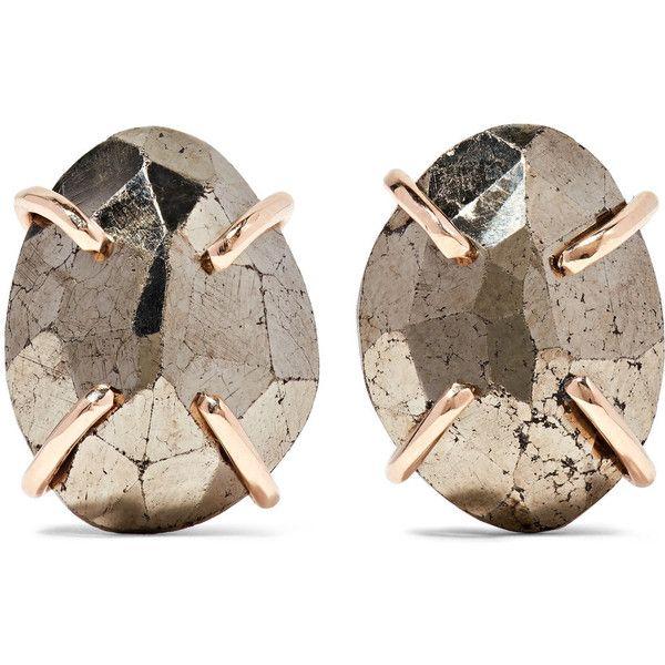 Melissa Joy Manning 14-karat Gold, Pyrite And Diamond Earrings