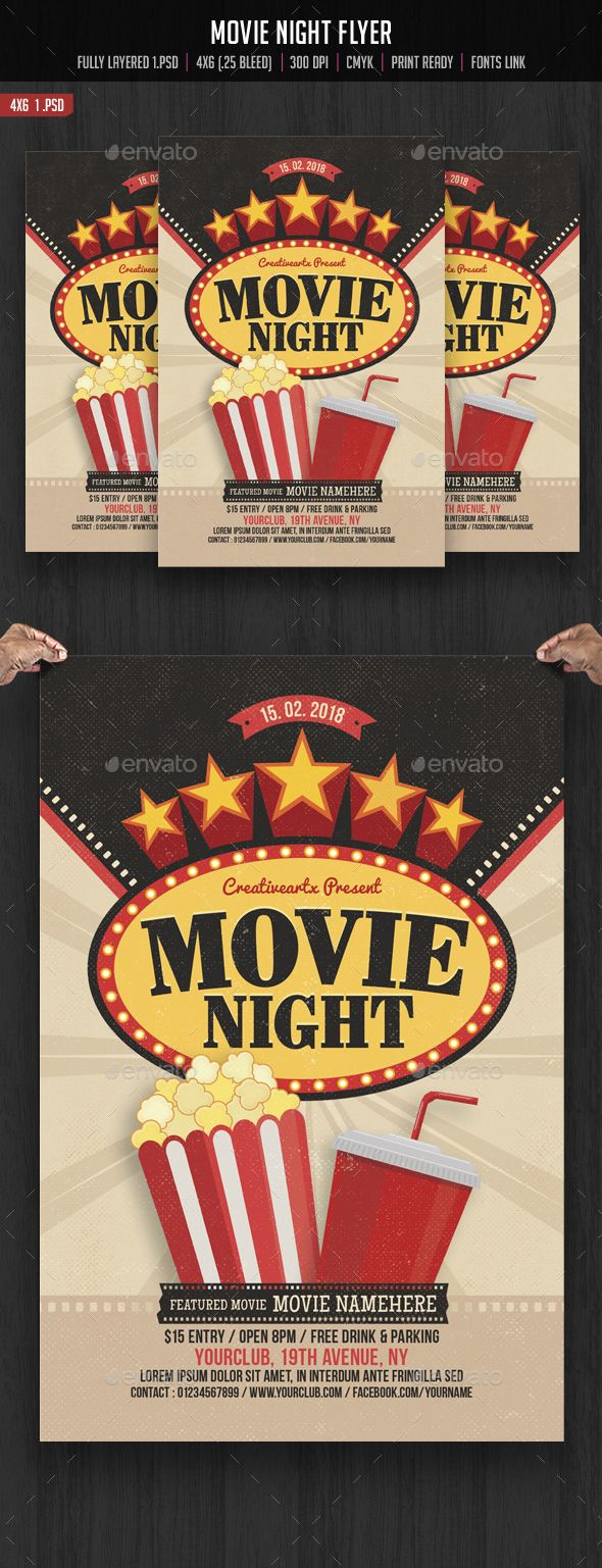 Movie Night Flyer Template  Flyer Template Template And Movie