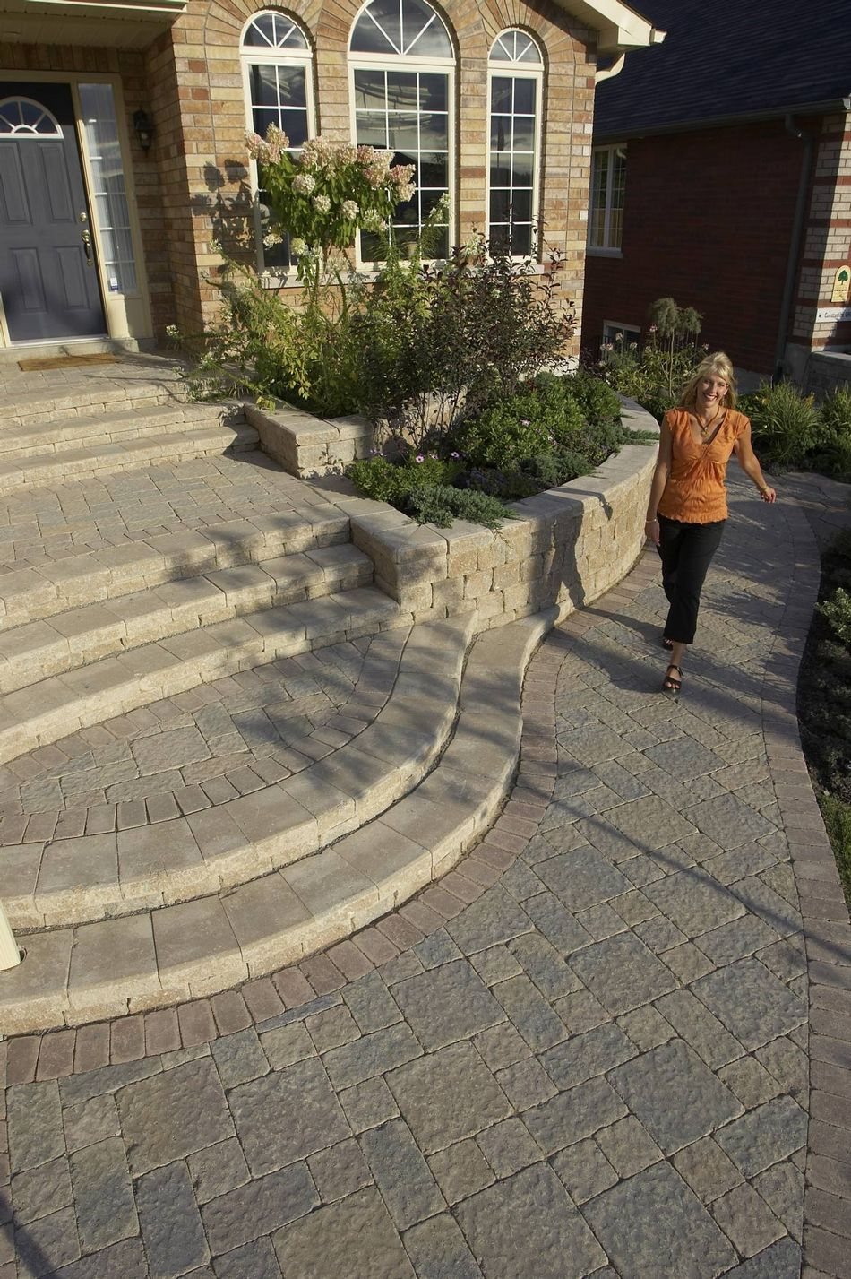Stonehenge Walkway And Front Entrance With Roman Pisa Walls Exterior Stairs Front Door Steps Front Landscaping