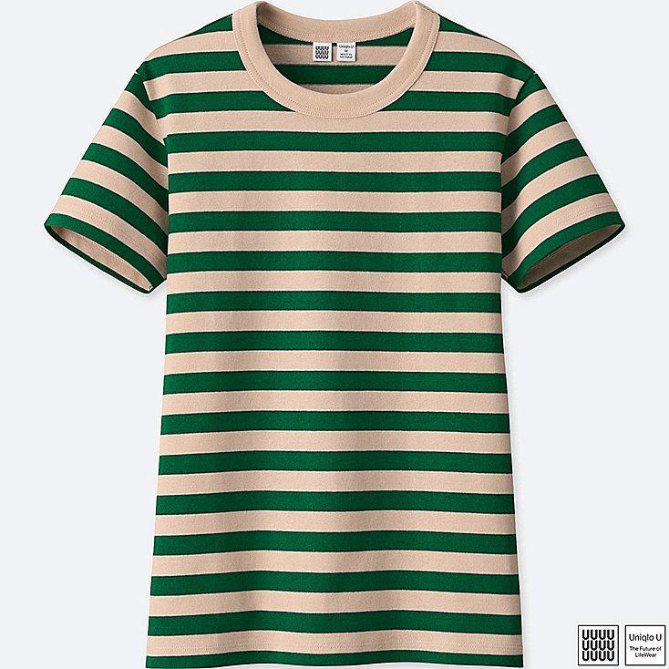 ae87e61b7 WOMEN UNIQLO U 100% COTTON Striped Crew Neck Short Sleeve T-shirt ...