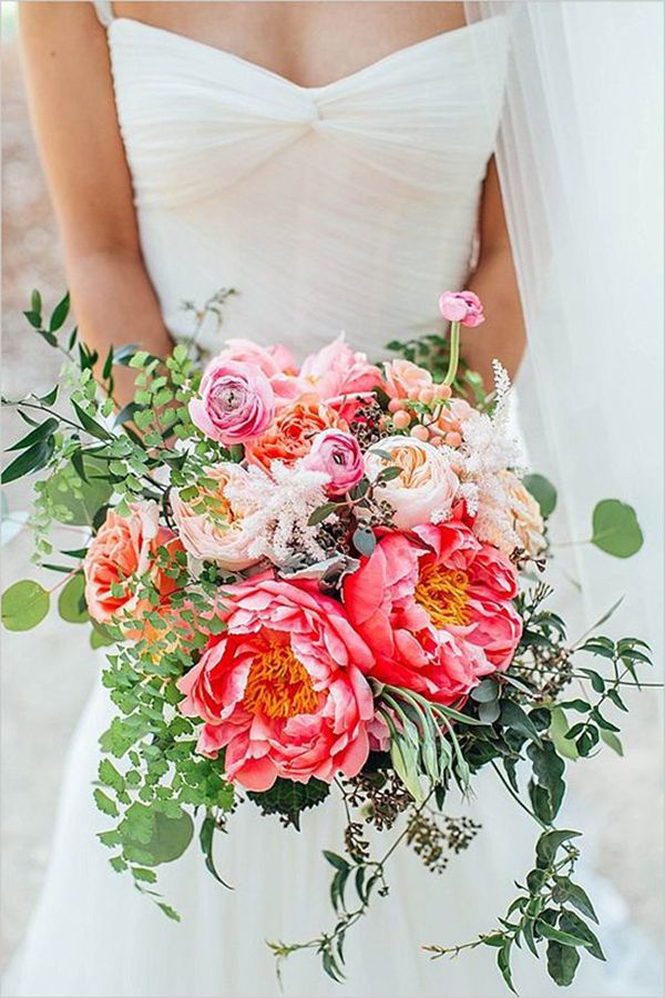 Peony and foliage bouquet // Everything You Need to Know About Peonies for Your Wedding